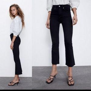 Zara Cropped Flare With Raw Hem Jeans